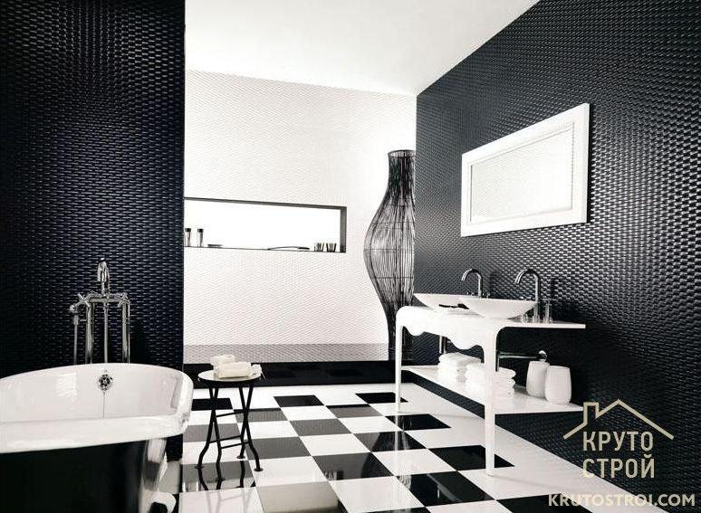 Ванная в черно белом цвете фото дизайн