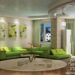 Зеленый интерьер гостиной. Часть 1 – стилевые решения, зеленый как основной