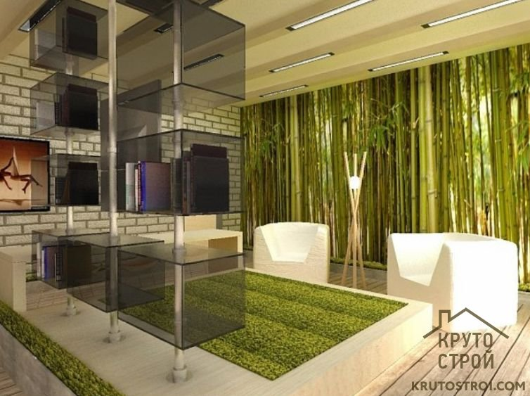 Дизайн на кухне из дерева и камня