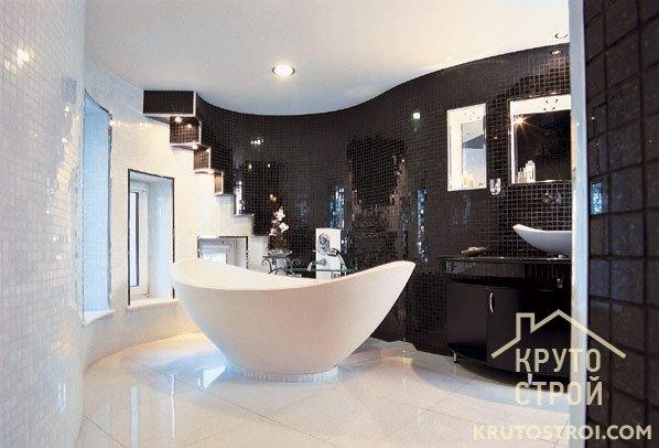 черно-белый дизайн ванной комнаты фото